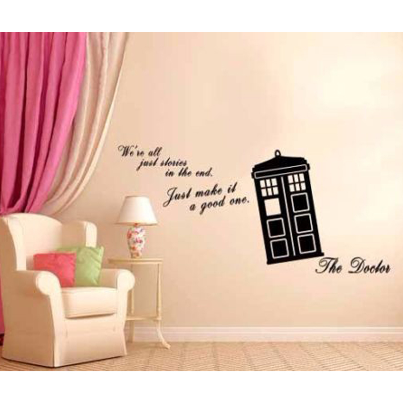 We Are All Stories Doctor Who Tardis Quote Home Wall Decoration Decal Mural  Vinyl Art Sticker 38X22 Inch In Wall Stickers From Home U0026 Garden On ...