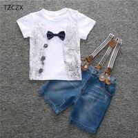 TZCZX 3325 New Children Baby Boys Sets Fashion Printed Bow Tie T Shirt Strap Pants Suit