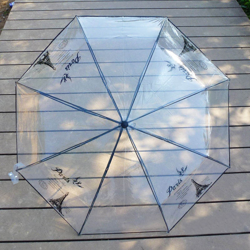 Fashion 1pc woman transparent Eiffel Tower print in white black Three Folding Sun Rain Umbrella outdoor Rain Tools