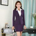 Long Sleeve Elegant Purple Slim Fashion Professional Work Suits With Jackets And Skirt Formal OL Styles Ladies Blazers Outfits