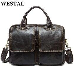 WESTAL Business Männer Aktentasche Tasche männer Echte Leder Taschen 14 zoll Laptop Tasche Leder Männlichen Aktentaschen Büro/Computer taschen 8002