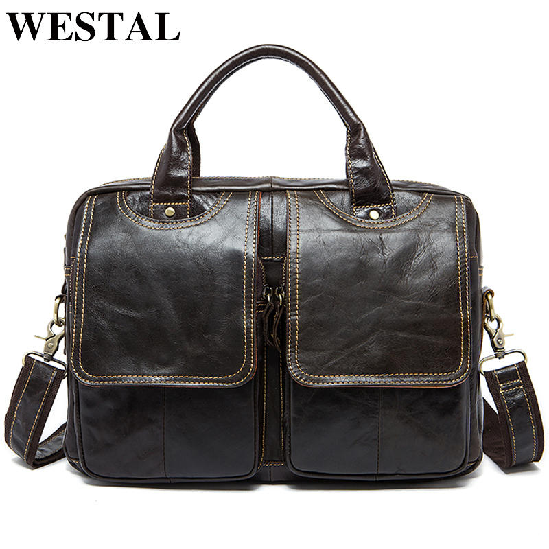 WESTAL Business Men Briefcase Bag Men's Genuine Leather Bags 14inch Laptop Bag Leather Male Briefcases Office/Computer Bags 8002