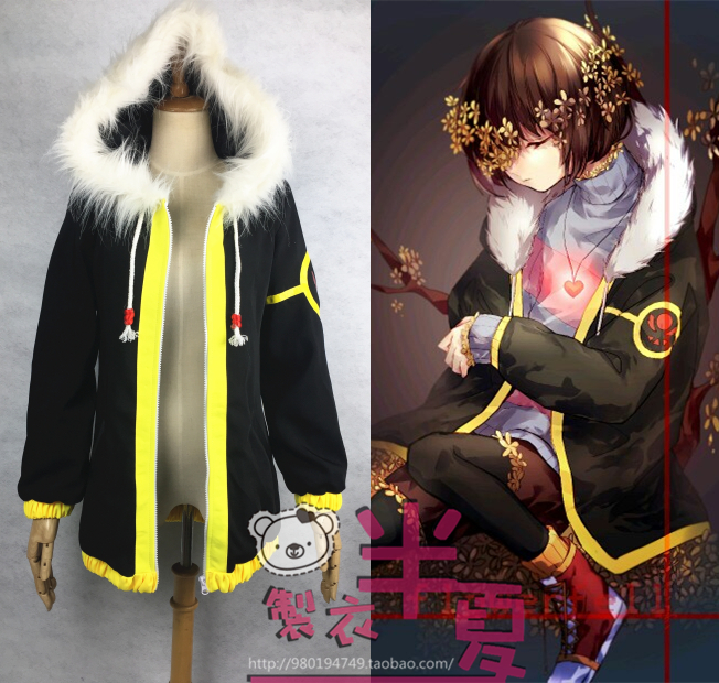 [Customize]Hot Game Undertale Frisk Fury Collar Lengthen Trench Cosplay Coat Fellsans Top Unisex Winter cloth free shipping
