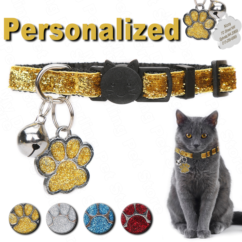 Personalized Pet Cat Collar With Bell Custom Collars for Cats Kitten Puppy ID Name Tag Cats Collar Necklace for Small Pet MP0102 image