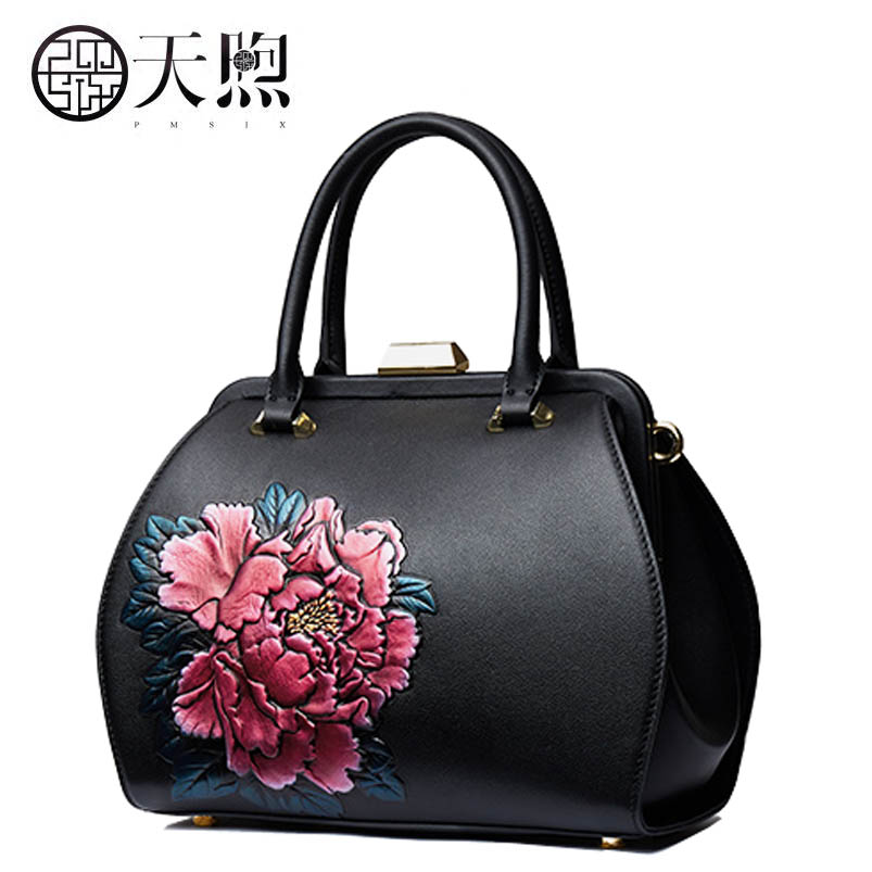 2017 new fashion Peony embossed luxury handbags women bags designer Genuine Leather women tote handbags shoulder Bags classic black leather tote handbags embossed pu leather women bags shoulder handbags elegant