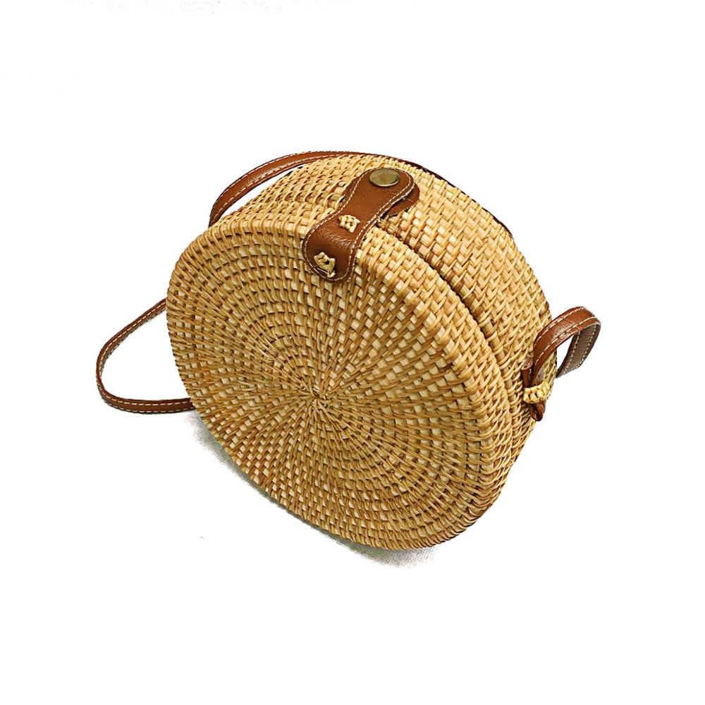 Vintage Straw Woven Satchel Messenger Womens Beach Crossbody Shoulder Bag