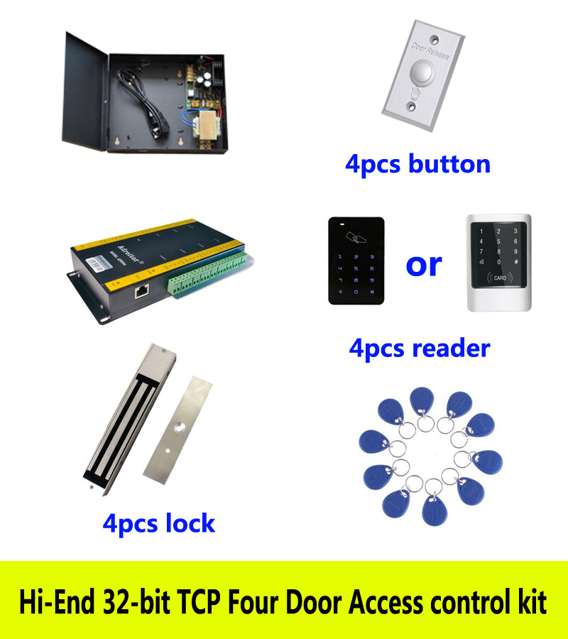 Фото Hi-end 32-bit access control kit,TCP/IP four door+power+280kg magnetic lock+ID touch keypad reader+button+10 ID tag,sn:kit-AT406