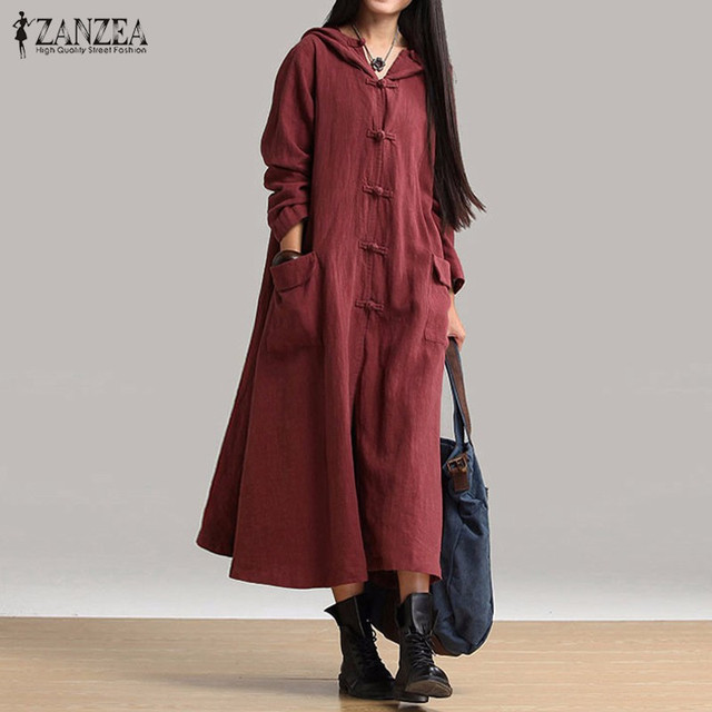 ZANZEA Women Dresses 2018 Autumn Casual Loose Mid-calf Dress Ladies Vintage  V Neck Hooded a2356a1dc66f