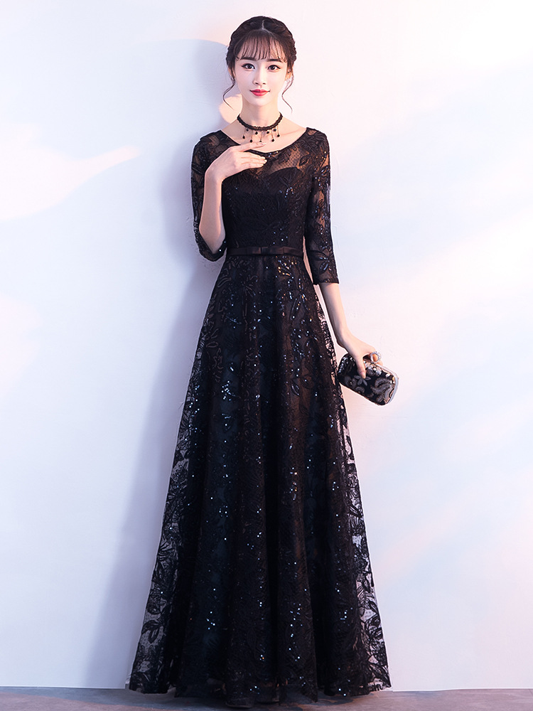 Evening     Dresses   Long Formal Elegant A-Line Plus Size Short Sleeve Lace Black Wedding Guest   Dress   Party Gown Vestidos ES1159