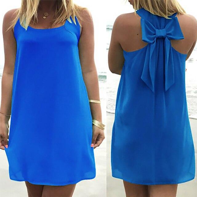 Vestido de verão 2019 as mulheres se vestem estilo feminino verão arco vestido de festa vestido de verão plus size mulheres roupas de praia vestido de chiffon