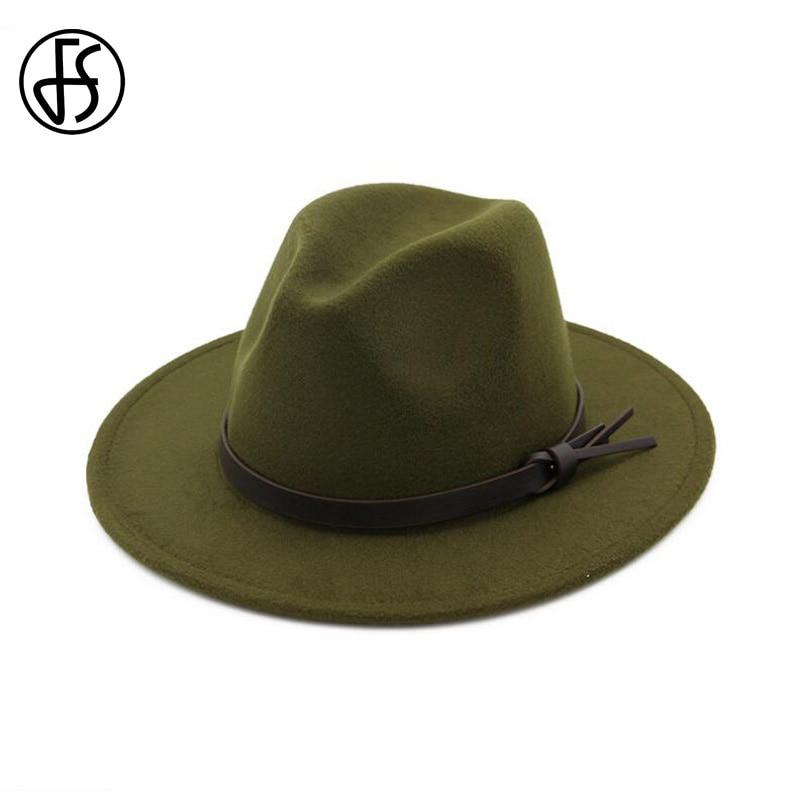 ba0607c89b4 FS Vintage Black Fedora Hat Trilby Women Wool Felt Fedora Wide Brim Autumn  Winter Men Panama Hats Jazz Cap Chapeu Feminino-in Fedoras from Apparel ...