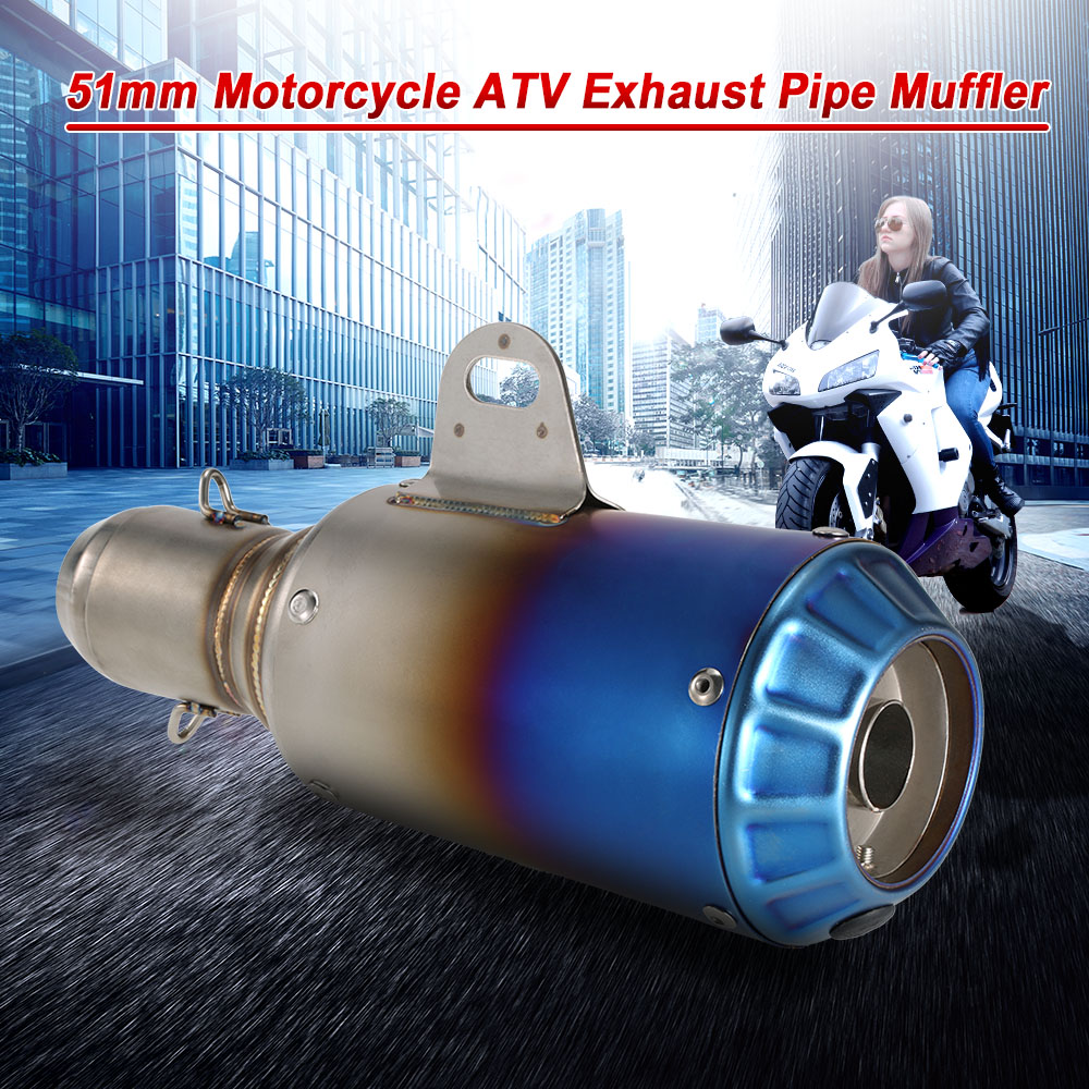 US $35 16 50% OFF|KKmoon 51mm Motorcycle Exhaust Stainless Frosting Noise  Reduction Refit Exhaust Muffler Pipe for Akrapovic Exhaust Motorcycle-in