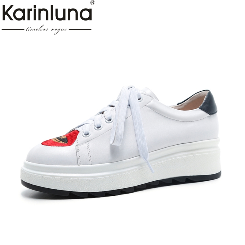 KARINLUNA Genuine Leather Size 34-39 Platform Black White Lace Up Women Shoes Fashion Round Toe Shoes Woman Casual Shoe hot selling black white women genuine leather shoes woman fashion hidden wedge heel lace up casual shoes size 33 40