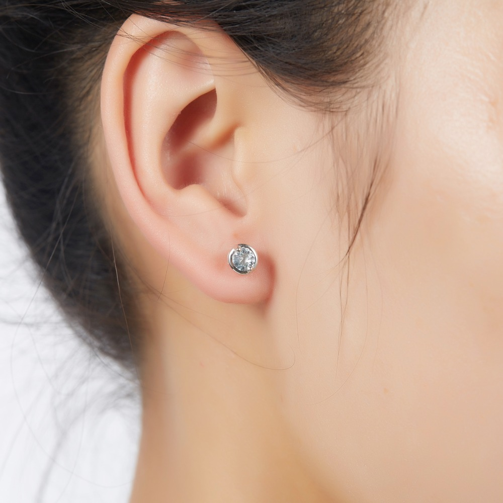 real diamond earrings stud aqua and white gold ml aquamarine marine