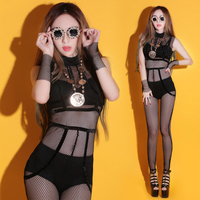 Sexy dance club DJ mesh singer dance clothing bar GOGO costume leotard Perspective for women