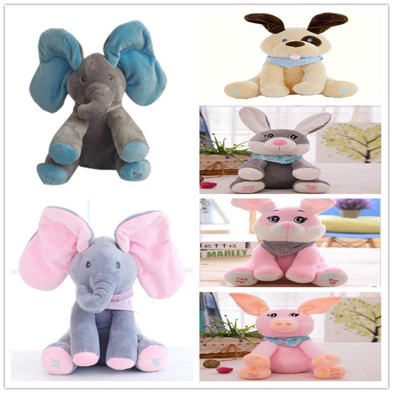 Engraçado Hide and Seek Elefante Brinquedos de Pelúcia Do Cão Do Urso de Coelho Porco Elétrica 16 Falando Cantando Boneca Brinquedos Musicais para o Natal modelos