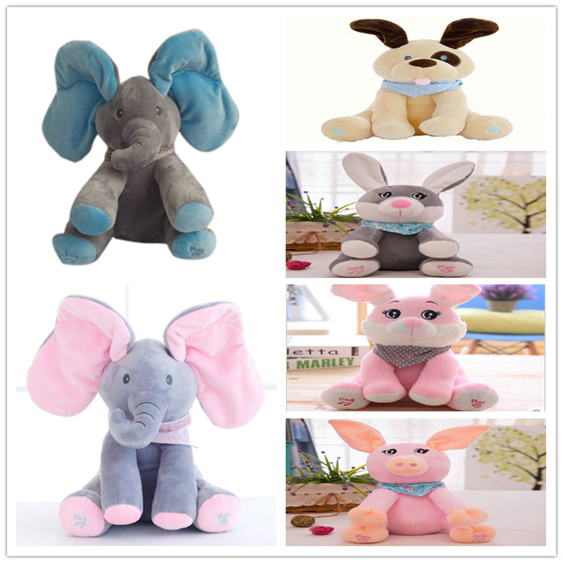 Funny Hide and Seek Plush Toys Elephant Bear Dog Rabbit Pig Electric Speaking Singing Doll Musical Toys for Christmas 16 Models hide and seek