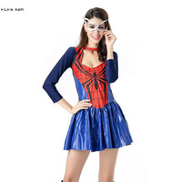Sexy Halloween Spiderman Costumes for Women Female The Avengers Spider man Cosplays Carnival Purim Nightclub masked Party dress