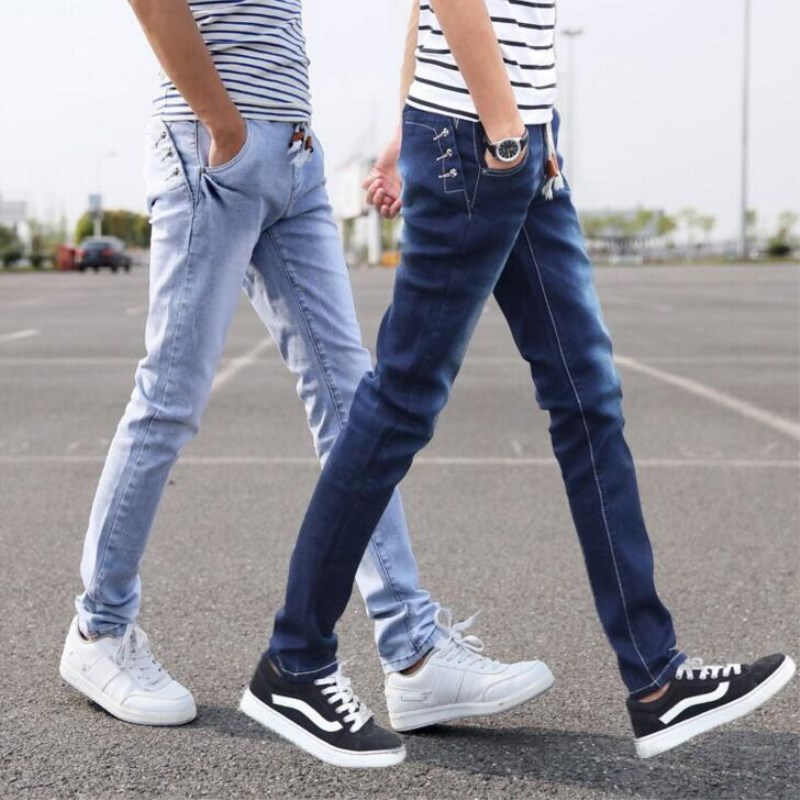 Men Jeans New Coming Korean Style Slim Casual Pencil Pants Jeans Fashion Mens Clothing Elastic Waist Full Length Denim Trousers