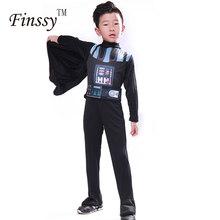 Darth Vader kostium dla dzieci Darth Vader kombinezon czarne ubranie z Cape Christmas Holiday Cosplay dla chłopców dziewcząt tanie tanio Kostiumy Star Wars Cospaly Chłopcy Spodnie Poliester Film i TELEWIZJA Zestawy Finssy Mask