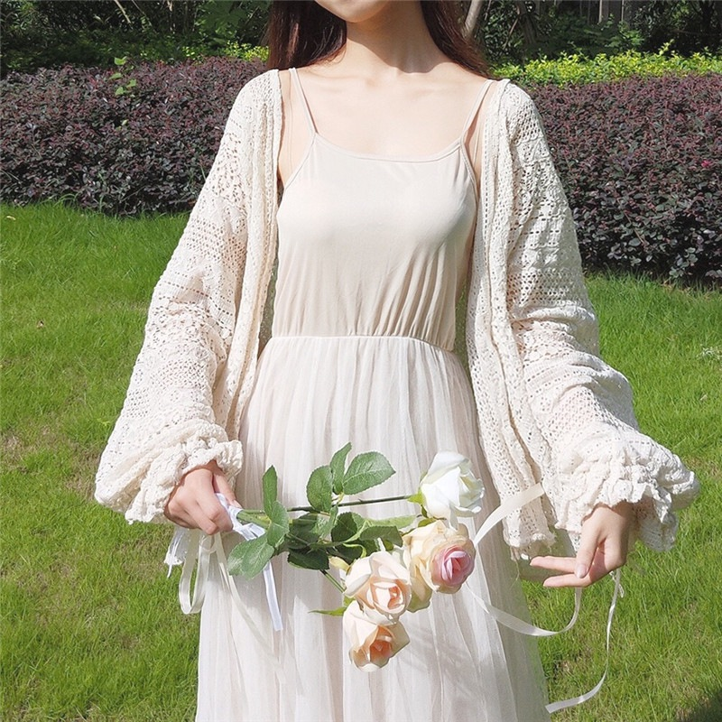 Women's Lace Hollow Out Blouse Female Long Sleeve Flare Sleeve Summer Outerwear