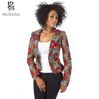 African style mode of ms coat women traditional classical wax printing ink printing cotton jacket lapel coat Free shipping