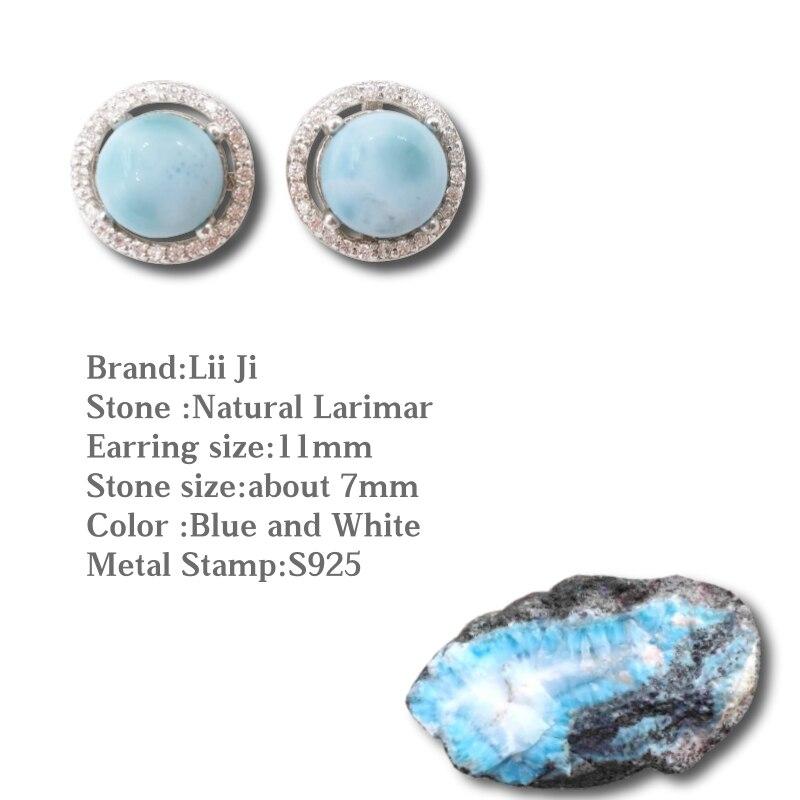 Lii Ji naturel pierre précieuse Larimar classique luxe brillant Zircon réel 925 Sterling argent Stud boucle d'oreille pour femmes bijoux de mariage - 2