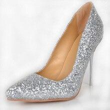 Silver Glitter Wedding Dress Shoes For Women Pointed Toe 2015 Pump Stilettos Designer Women High Heel Pumps Fashion Slip-ons