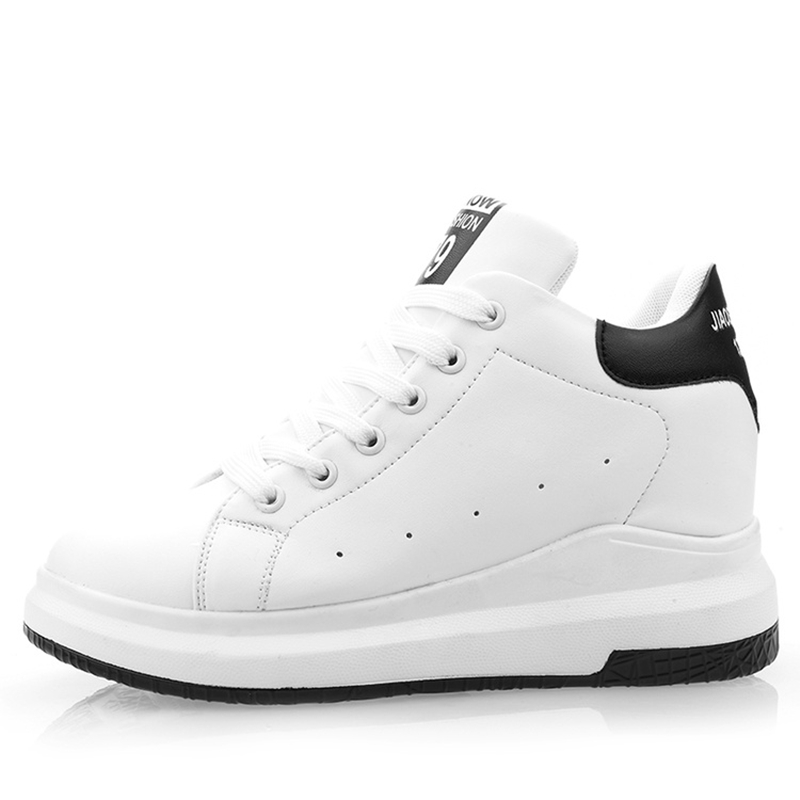 Hide Heel Wedge Leather Casual Shoes Woman 2017 Fashion Spring Lace Up Ladies Shoes Breathable Women White Shoes Superstars ZD39 beautyfeet women shoes female genuine leather lace up casual shoes woman flats white shoes candy color breathable ladies shoes
