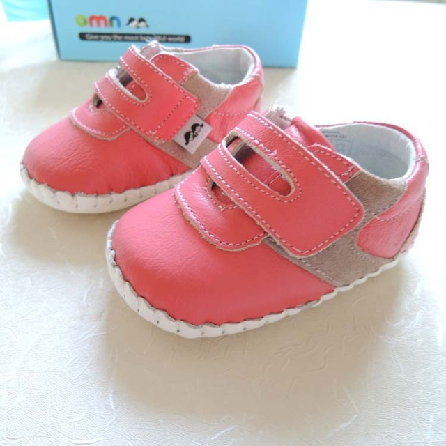 2017 OMN Brand Non-slip Toddler Shoes Boys Girl Baby Shoes Genuine Leather Shoes 1038-PH Hot Pink Indoor Prewalkers
