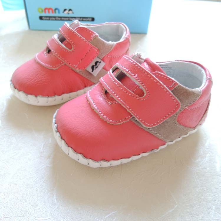2018 OMN Brand Non-slip Toddler Shoes Boys Girl Baby Shoes Genuine Leather Shoes 1038-PH Hot Pink Indoor Prewalkers