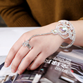 New Arrival Luxurious Color Rhinestone Bridal Bracelets & Bangles With Ring For Wedding Jewelry Accessory Women Fashion Rings
