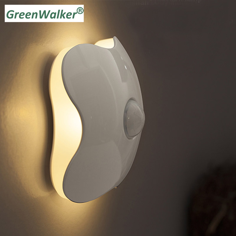 Четыре листа клевера движения PIR Сенсор светодиодный ночник умный индукции человеческого тела Новинка Батарея USB Шкаф Кабинет Туалет лампы ...