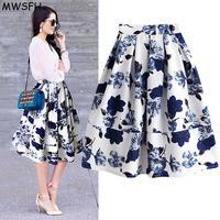 Flower Prints Skirts 2016 Knee length Flared Ball Gown Circle Pleated High Waist Midi Skirts Saia Plus Size Long Skirt Womens