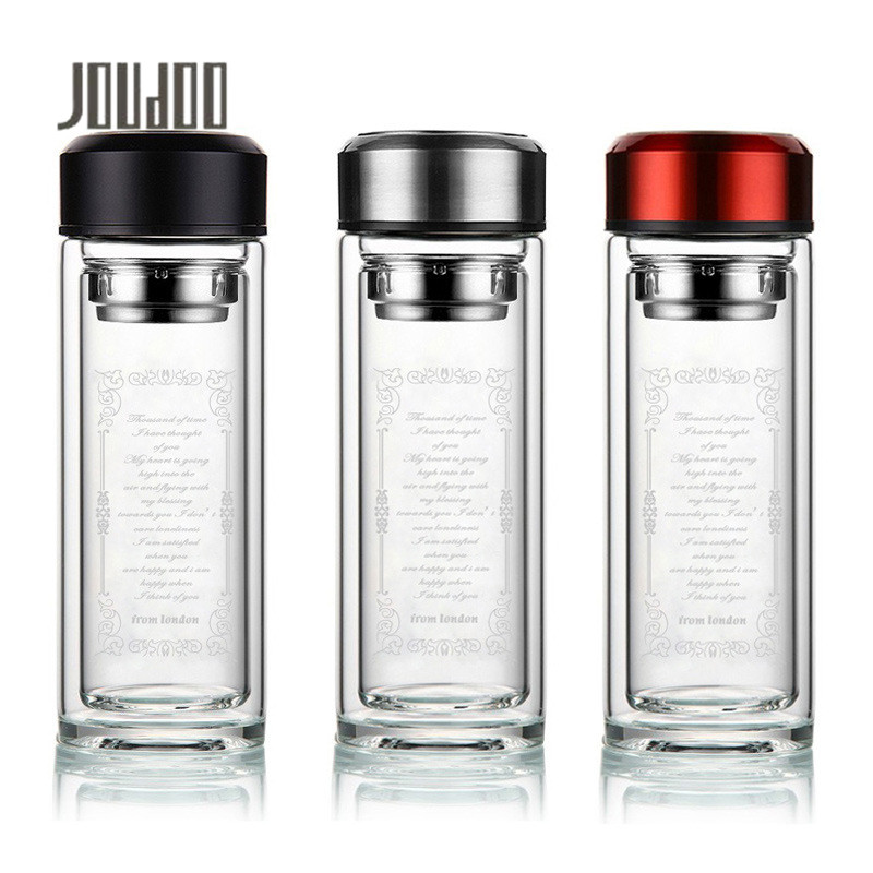 JOUDOO 300/360ml Double Wall Glass Water Bottle with Stainless Steel Tea Infuser Filter Sport Tumbler 35