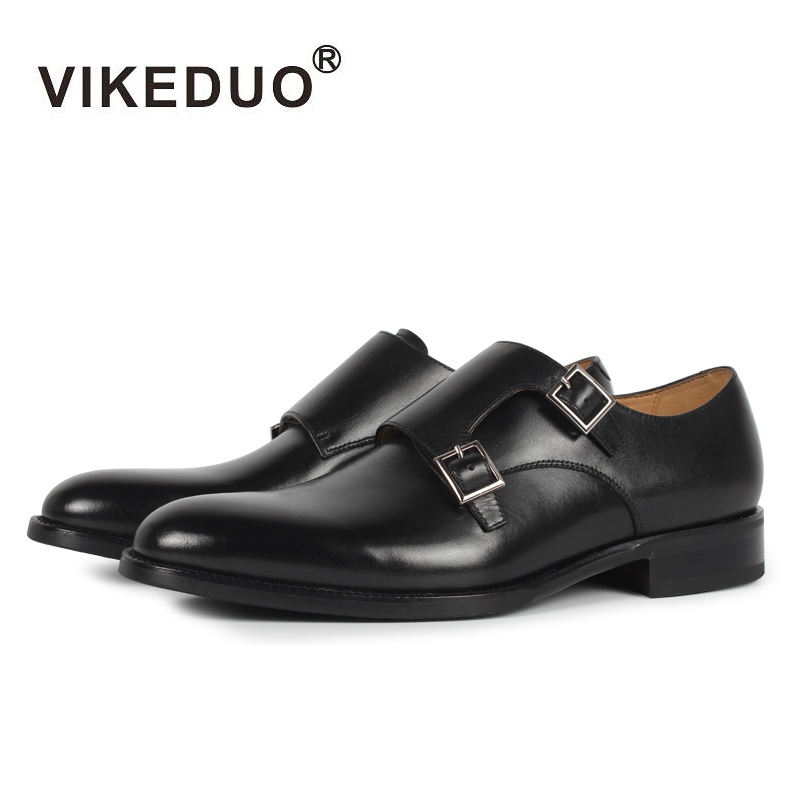 VIKEDUO Luxury Brand Vintage  Handmade Mens Italy Design Monk Shoes Mens Black Footwear 100% Genuine Leather Double Buckle Shoes