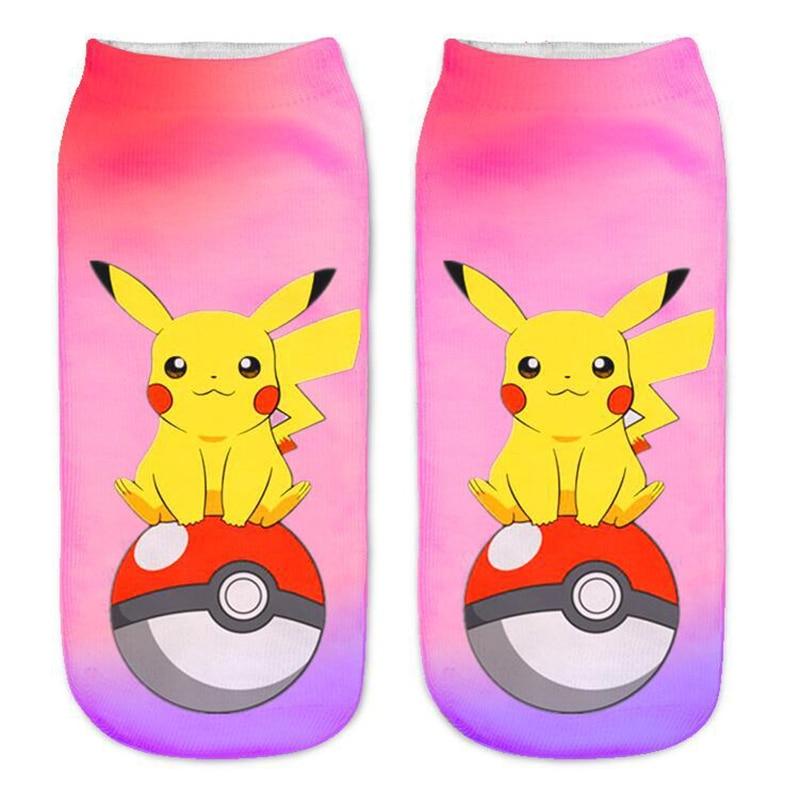 3d chaussettes femmes unisexe harajuku kawaii low cut cheville chaussette pokemon imprimer mignon art chaussettes chaussette