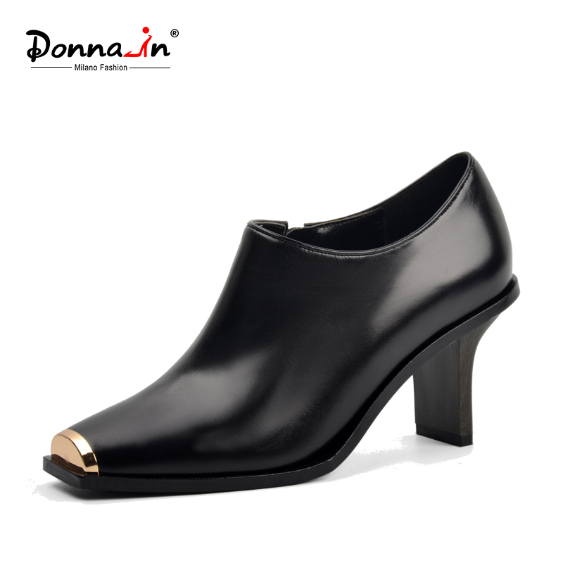 Donna-in 2017 Spring/Autumn Ankle Boots For Women Medium Heel Metal toe Genuine Leather Brand Woman Shoes