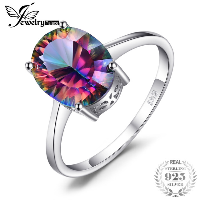 JewelryPalace 2.5ct Genuine Rainbow Fire Mystic Topaz Concave Oval Cut Ring For