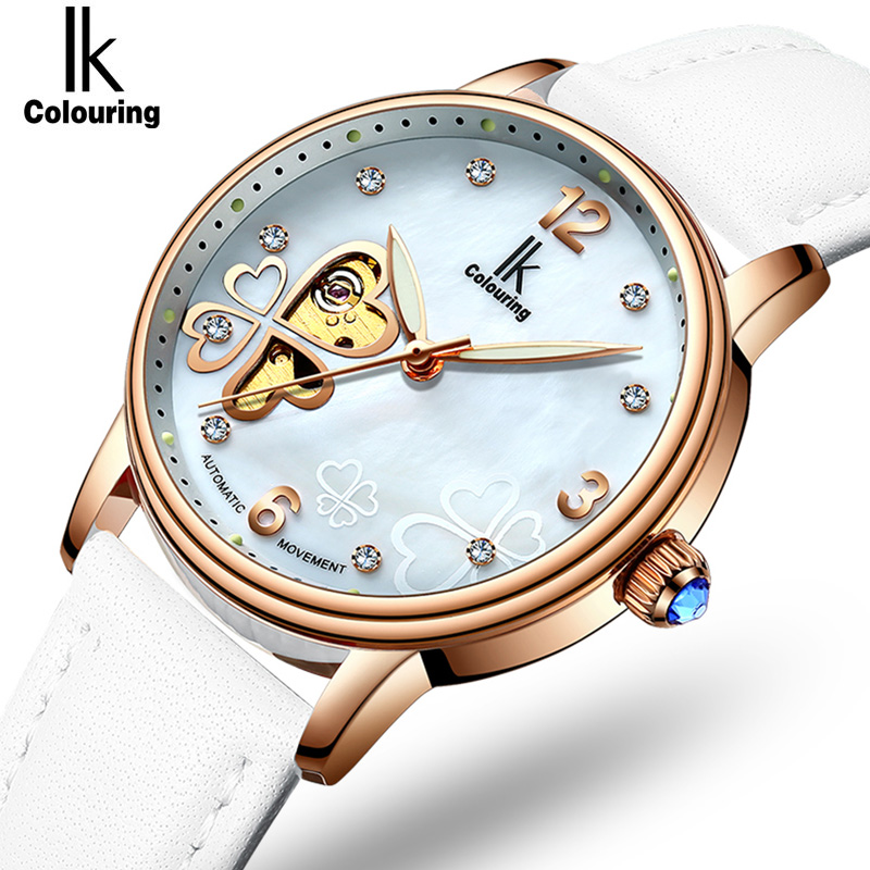 Lucky 2018 Clover New Fashion Genuine Leather Womens Watch OL Lady Diamond Automatic Mechanical Watches Women Reloj femenino lucky 2018 clover new fashion genuine leather womens watch ol lady diamond automatic mechanical watches women reloj femenino
