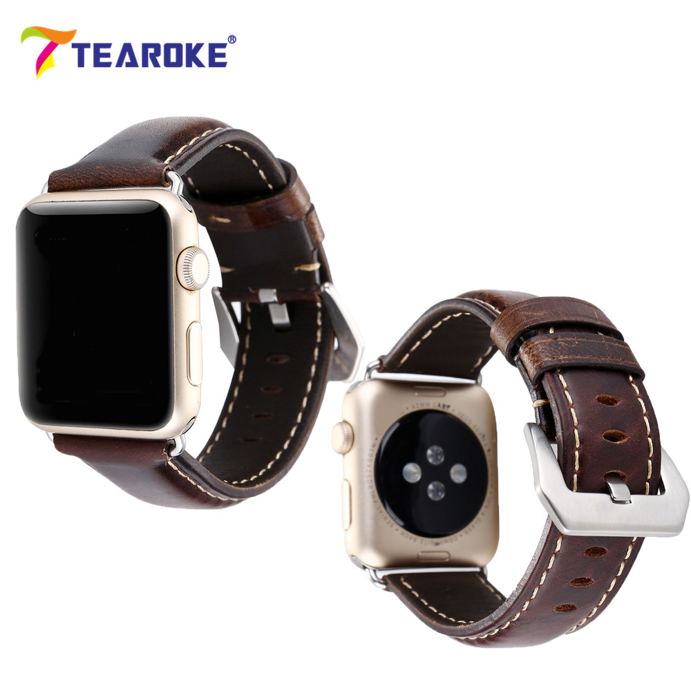 TEAROKE Nubuck Leather font b Watch b font Band Crocodile Pattern Classic Bracelet Strap For font