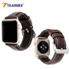 TEAROKE Nubuck Leather Watch Band Crocodile Pattern Classic Bracelet Strap For Apple Watch 38mm 42mm With Adapters Dark Brown