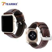 TEAROKE Nubuck Leather Watch Band Crocodile Pattern Classic Bracelet Strap For Apple Watch 38mm 42mm With