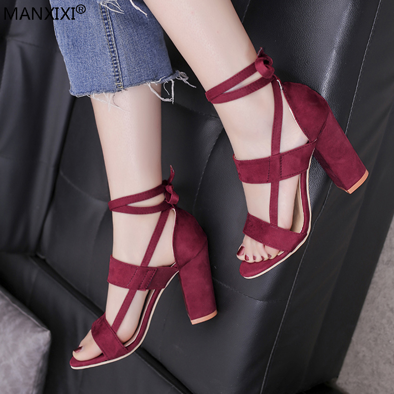 Women Sandals cross-tied shoe ankle strap Lace-up high heels silk ribbon pumps chunky heel pumps Summer party fashion suede shoe