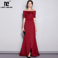 Lady Milan Womens Runway Designer Dresses Slash Neckline Short Sleeves Party Prom Sexy Split Chapel Train Long Red