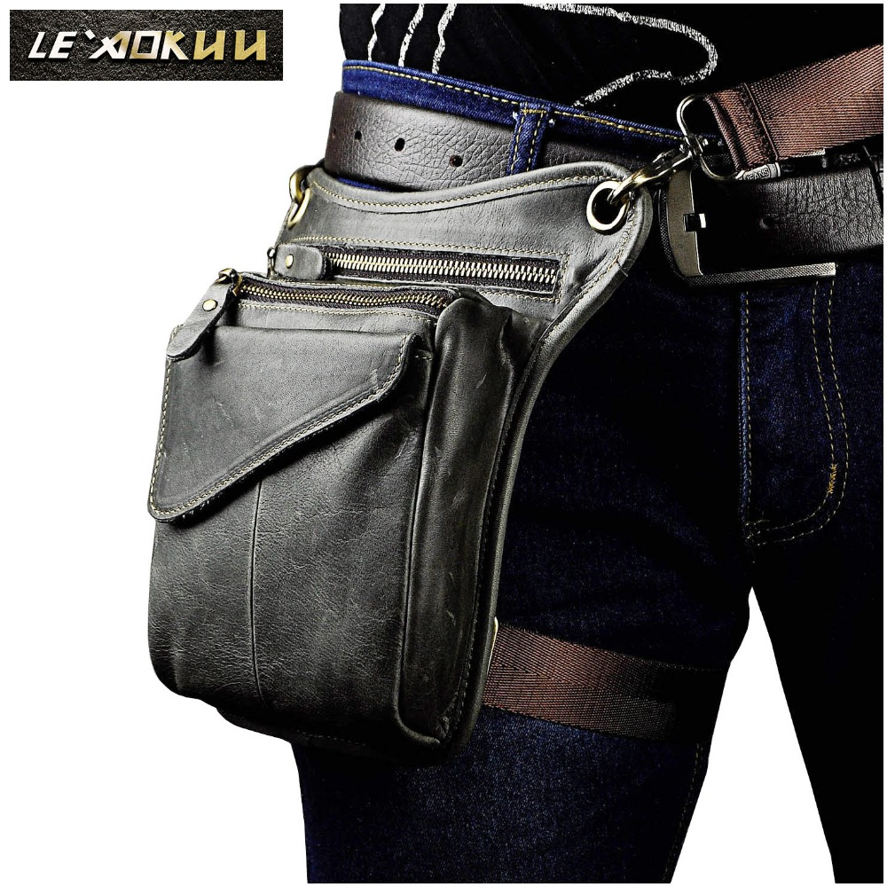 Real Leather Men Multifunction Design Casual Sling Shoulder Messenger Bag Fashion Travel Waist Belt Pack Drop Leg Bag 211-3-g