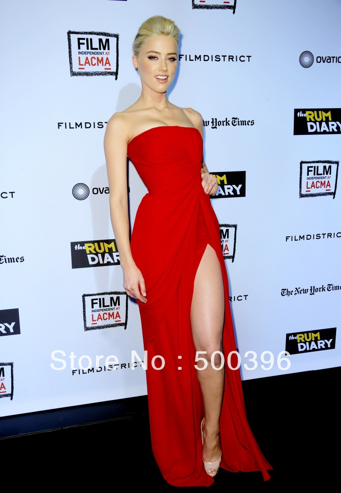 Celebrity Style Red Chiffon High Slit Prom Dresses 2015 Simple ...