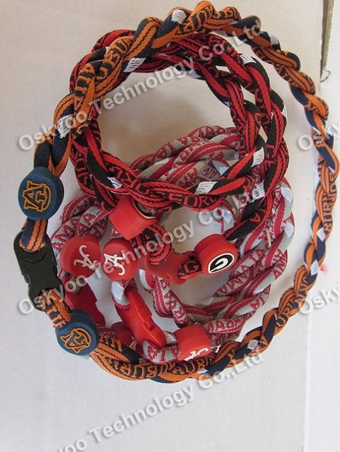 2012 free shipping new energy Titanium US Football Tornado Necklaces Alabama Crimson Tide  Auburn Tigers   2 3 ropes Necklaces