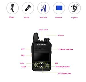 Image 2 - 2pcs Ptt Baofeng BF T1 Portable Earphone Walkie Talkie Set With Handheld Hotel Radio Comunicacion Ham HF Transceiver walk talk