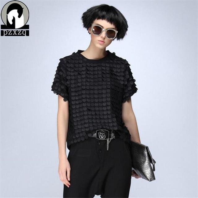 Black Harajuku Summer 2018 Fashion Women Shirts Original Character Dot Printed O-neck Short Sleeve Shirt Casual Black Brand Tops